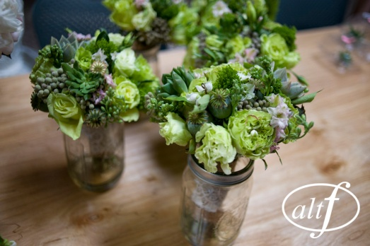 Green bridesmaids bouquets by Layers of Lovely Floral Design