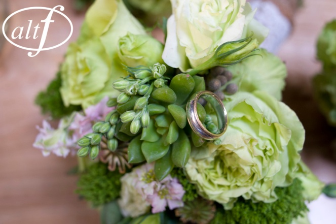 Green bouquet with succulents by Layers of Lovely Floral Design