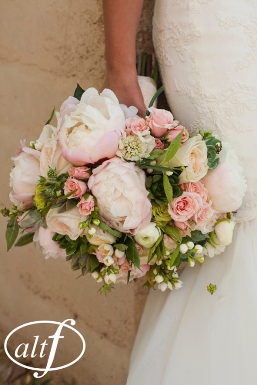 Blush and green bridal bouquet by Layers of Lovely Floral Design