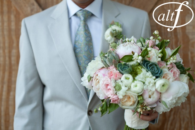 Peony, ranunculus and succulent bouquet by Layers of Lovely Floral Design