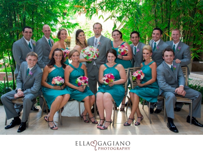Teal bridesmaids dresses with bright colored bouquets by Layers of Lovely Floral Design