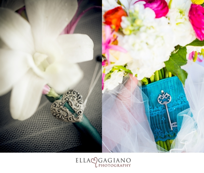 Lock and key accents for the boutonniere and bridal bouquet by Layers of Lovely Floral Design
