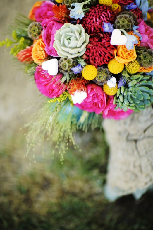 Textural bridal bouquet of succulents, florals and sugar cubes by Layers of Lovely Floral Design
