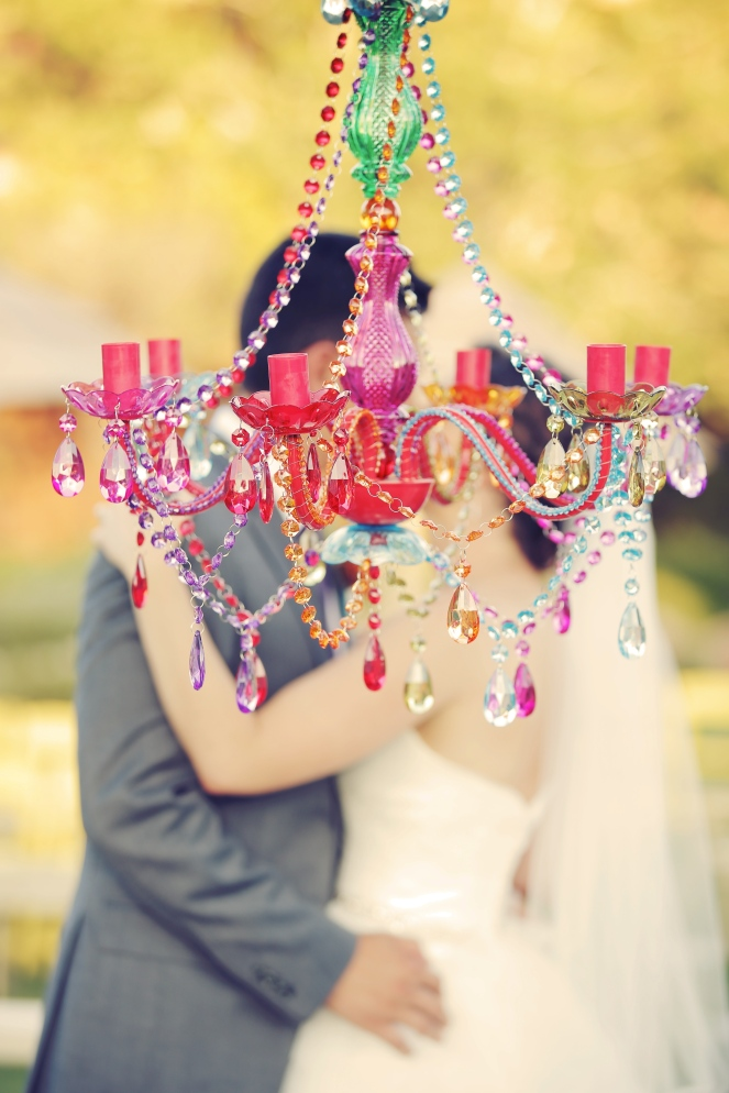 Multi color chandelier rental by Layers of Lovely Floral Design