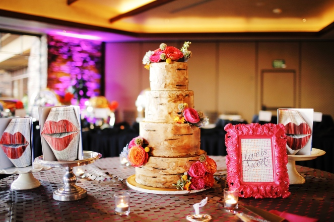 Tree designed cake with florals by Layers of Lovely Floral Design. Event design by When Pigs Fly