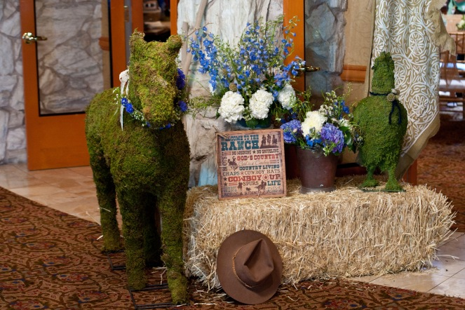 Cowboy themed baby shower with moss animals by Layers of Lovely Floral Design