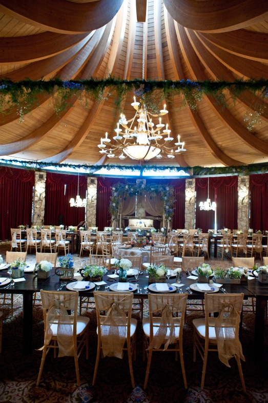 Florals going across the ceiling for Cowboy themed baby shower by Layers of Lovely Floral Design at Las Vegas Country Club