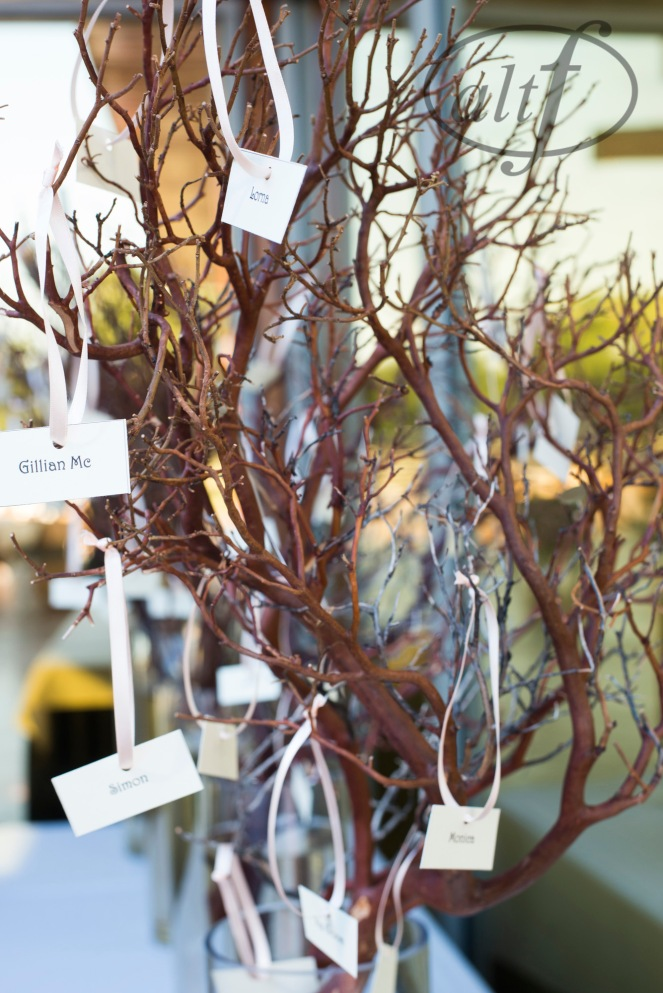 Escort cards hanging on manzanita branches