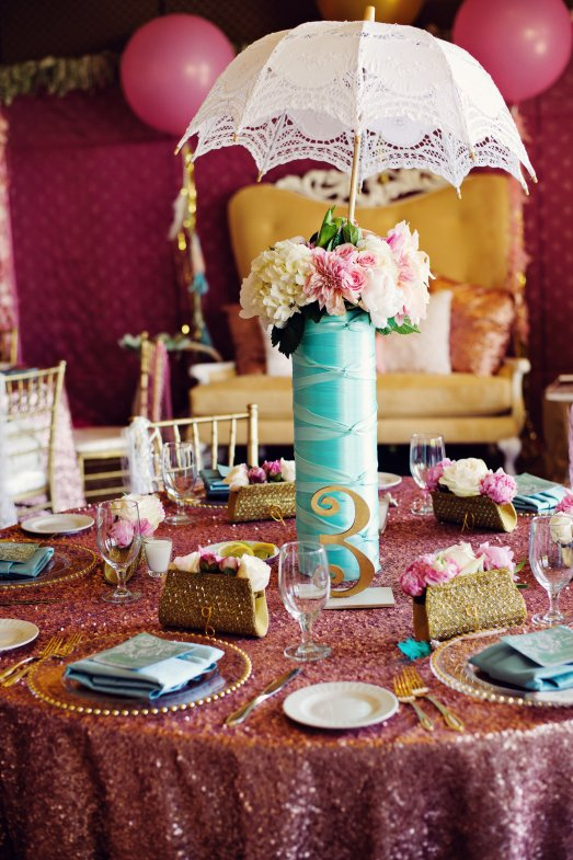 Pink and teal bridal shower by When Pigs Fly & Layers of Lovely Floral Design at Red Rock Country Club
