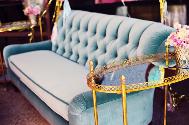 Teal couch and gold bar carts by Layers of Lovely Floral Design