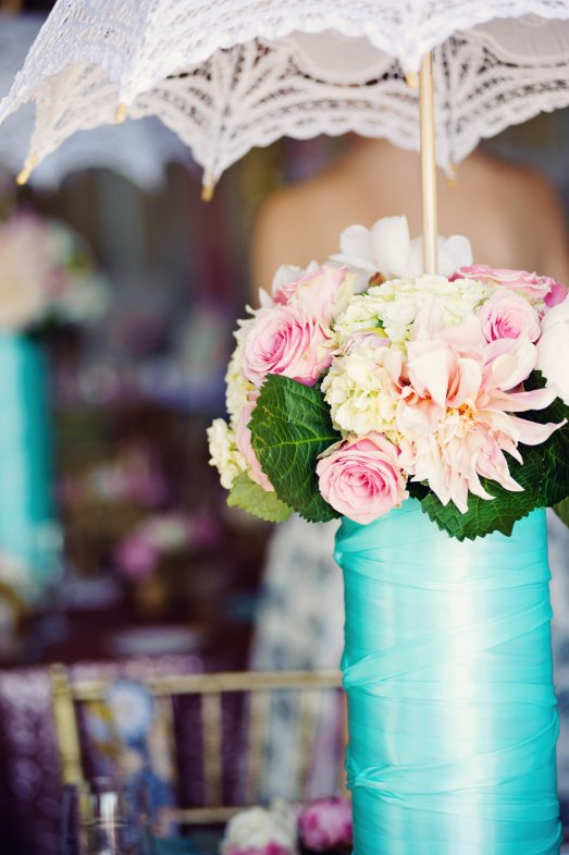 Bridal shower centerpiece with a parasol by Layers of Lovely Floral Design