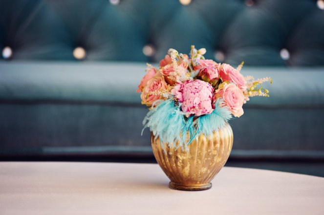 Pink and teal bridal shower.