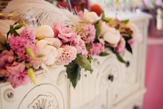 Florals in buffet for mimosa bar by Layers of Lovely Floral Design