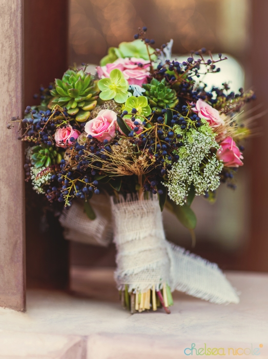 Succulent, wheat, privet berry, queen ann's lace and spray rose bouquet by Layers of Lovely