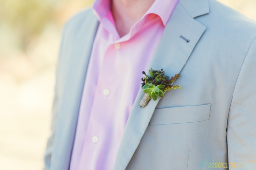 Succulent and privet berry boutonniere by Layers of Lovely