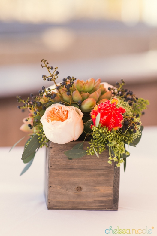 Cocktail table arrangement with succulents, neon cactus and garden roses by Layers of Lovely