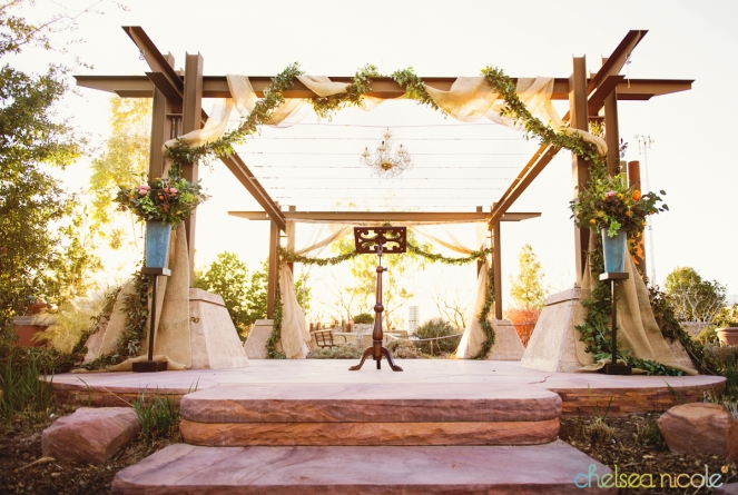Burlap and garland drape at the Springs Preserve Las Vegas by Layers of Lovely