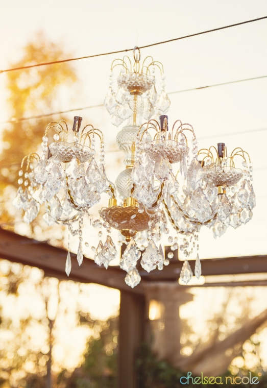 Chandelier at the wedding ceremony