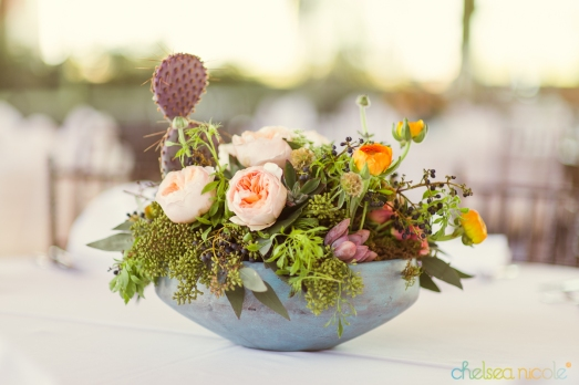 Teal concrete planter filled with cactus, succulents and florals by Layers of Lovely