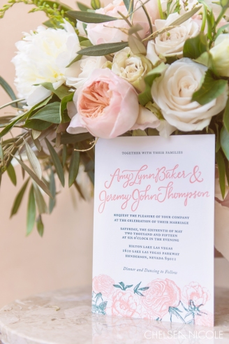 Hilton Lake Las Vegas wedding featuring an ivory and peach color scheme. Photography by Chelsea Nicole. Florals by Layers of Lovely. Invitations by Paper & Home.