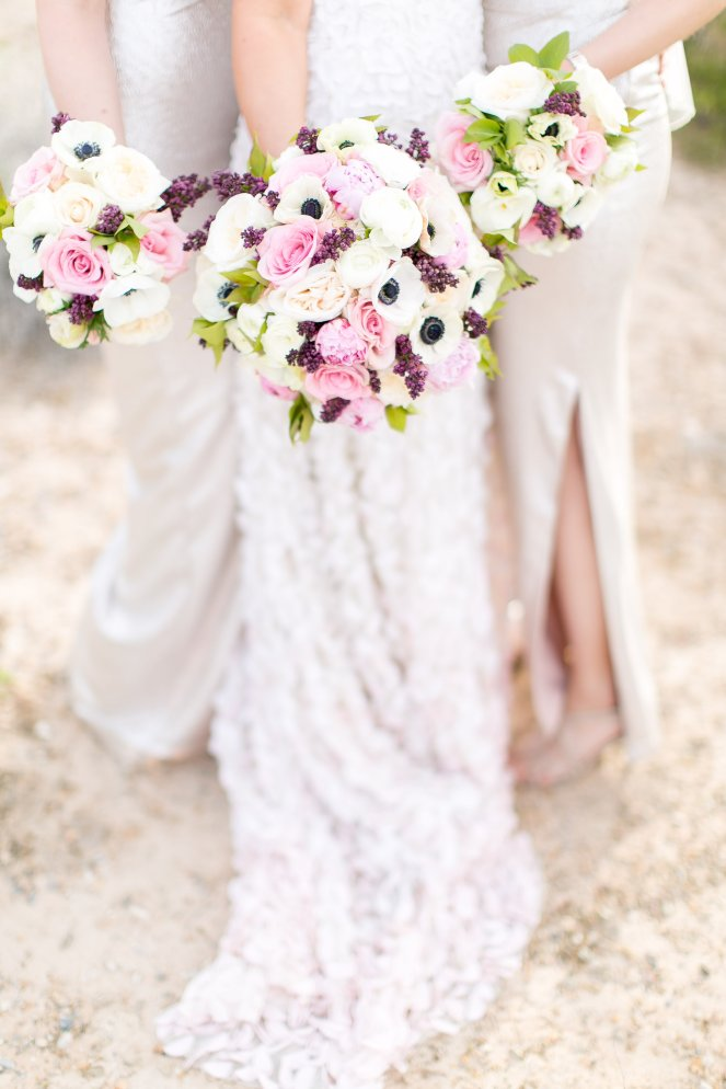 Las Vegas wedding at the Springs Preserve. Florals of white, pink and purple by Layers of Lovely. Photography by J. Anne Photography.